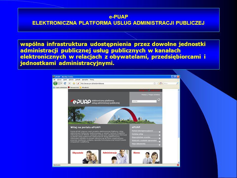 e-PUAP ELEKTRONICZNA PLATFORMA USLUG ADMINISTRACJI PUBLICZEJ