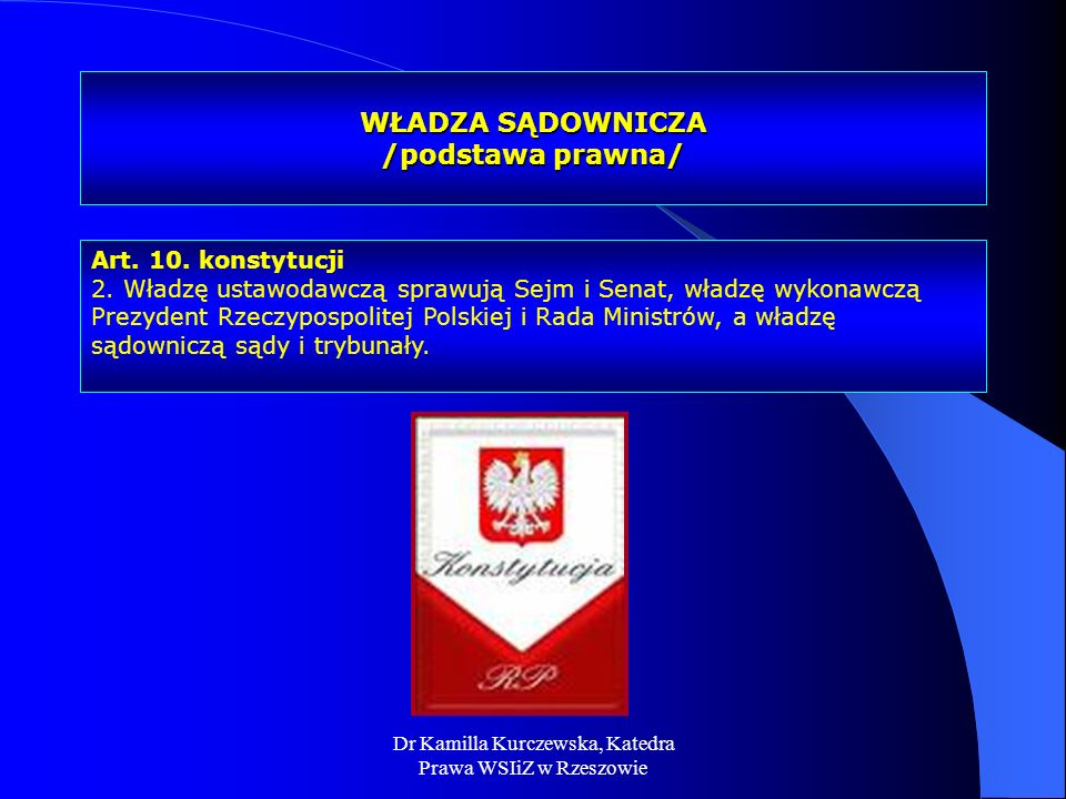 WŁADZA SĄDOWNICZA /podstawa prawna/