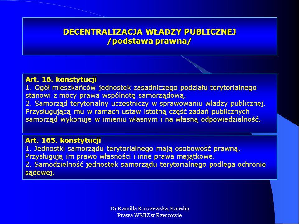 DECENTRALIZACJA WŁADZY PUBLICZNEJ /podstawa prawna/