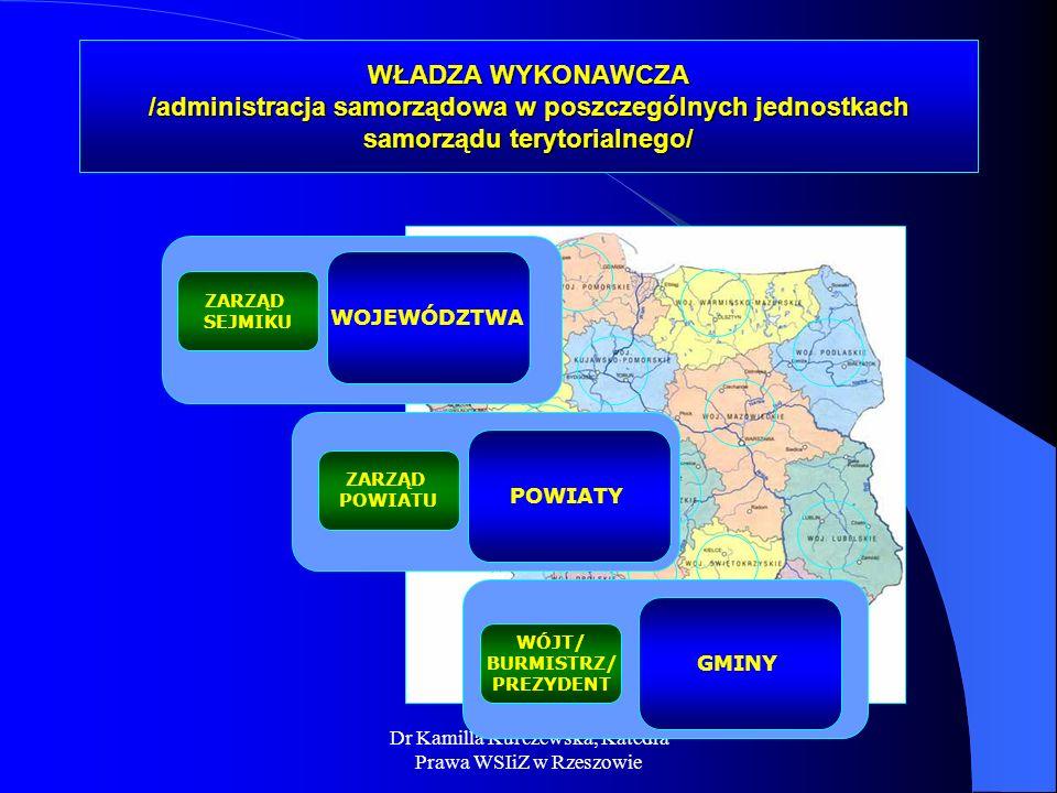 WŁADZA WYKONAWCZA /administracja samorządowa w poszczególnych jednostkach samorządu terytorialnego/