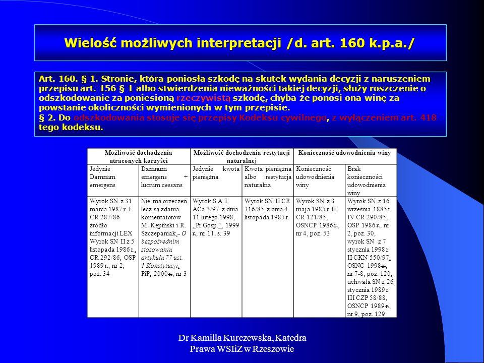 Wielość możliwych interpretacji /d. art. 160 k.p.a./