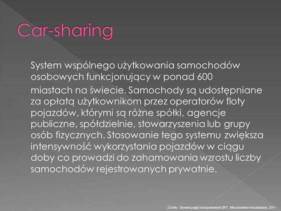 Car-sharing System wspólnego użytkowania samochodów osobowych funkcjonujący w ponad 600.