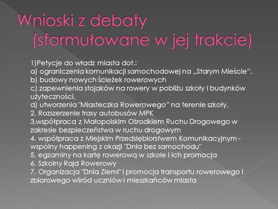 Wnioski z debaty (sformułowane w jej trakcie)