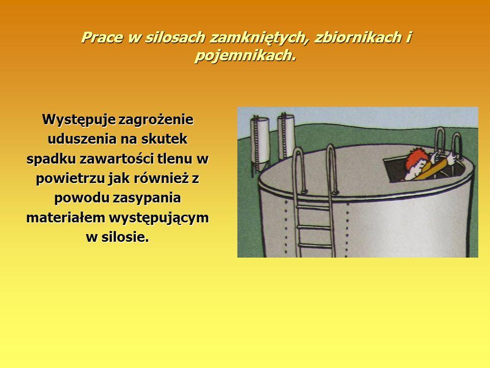 Prace w silosach zamkniętych, zbiornikach i pojemnikach.