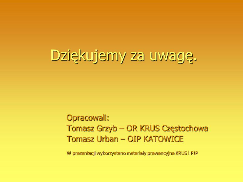Dziękujemy za uwagę. Opracowali: Tomasz Grzyb – OR KRUS Częstochowa