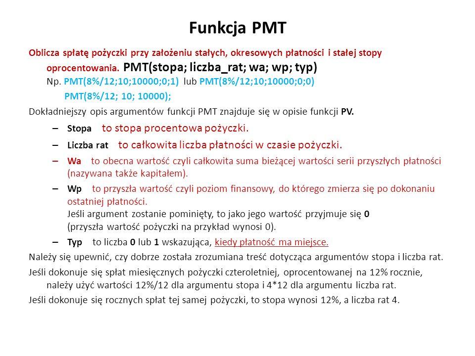 Funkcja PMT