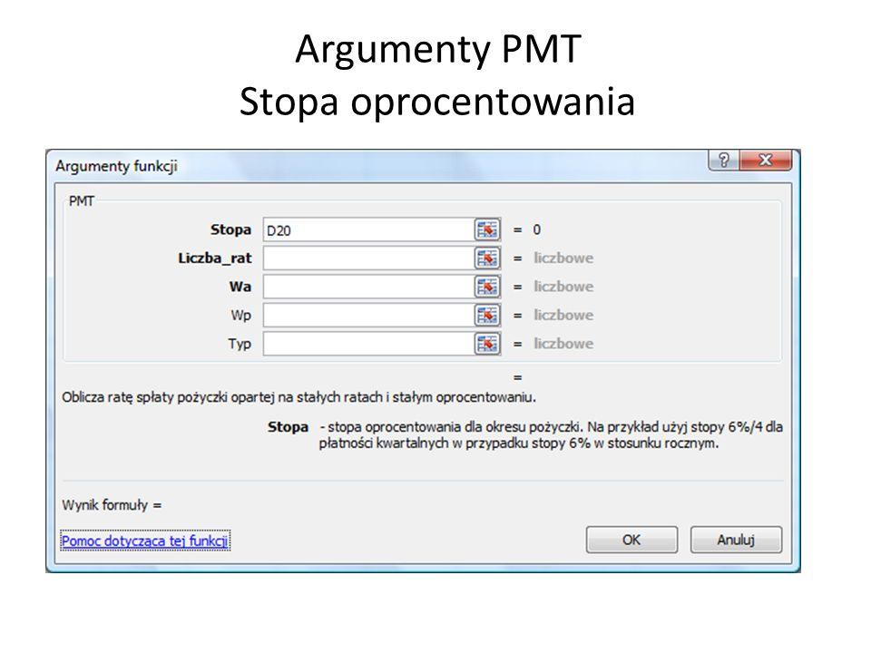 Argumenty PMT Stopa oprocentowania