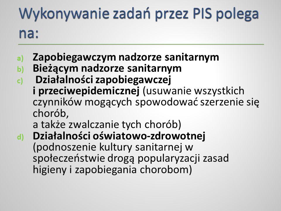 Wykonywanie zadań przez PIS polega na: