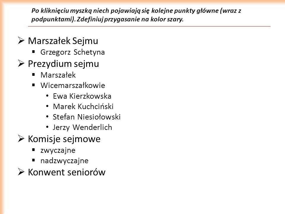 Marszałek Sejmu Prezydium sejmu Komisje sejmowe Konwent seniorów