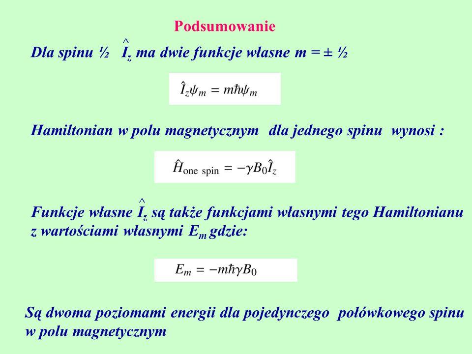 Dla spinu ½ Iz ma dwie funkcje własne m = ± ½