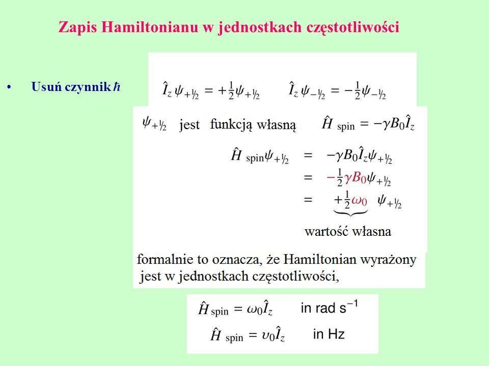 Zapis Hamiltonianu w jednostkach częstotliwości
