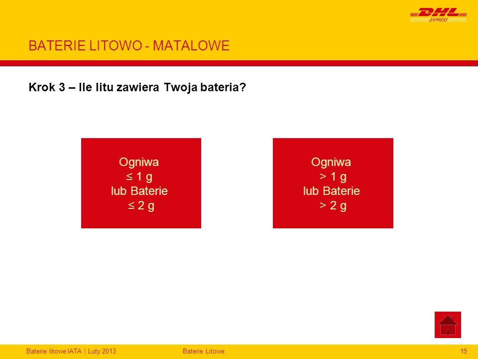 BATERIE LITOWO - MATALOWE