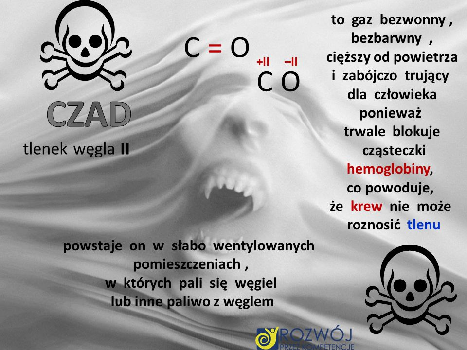 CZAD C = O C O tlenek węgla II to gaz bezwonny , bezbarwny ,