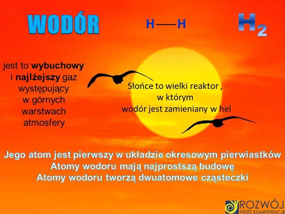 H2 WODÓR H H jest to wybuchowy i najlżejszy gaz występujący w górnych