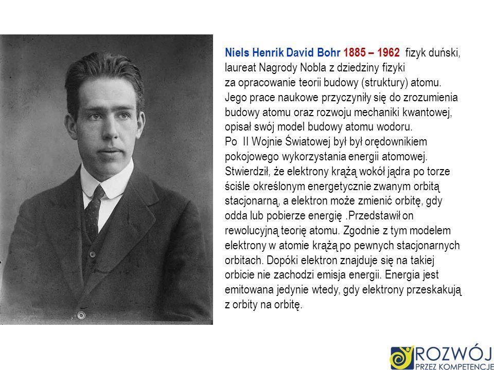 Niels Henrik David Bohr 1885 – 1962 fizyk duński, laureat Nagrody Nobla z dziedziny fizyki