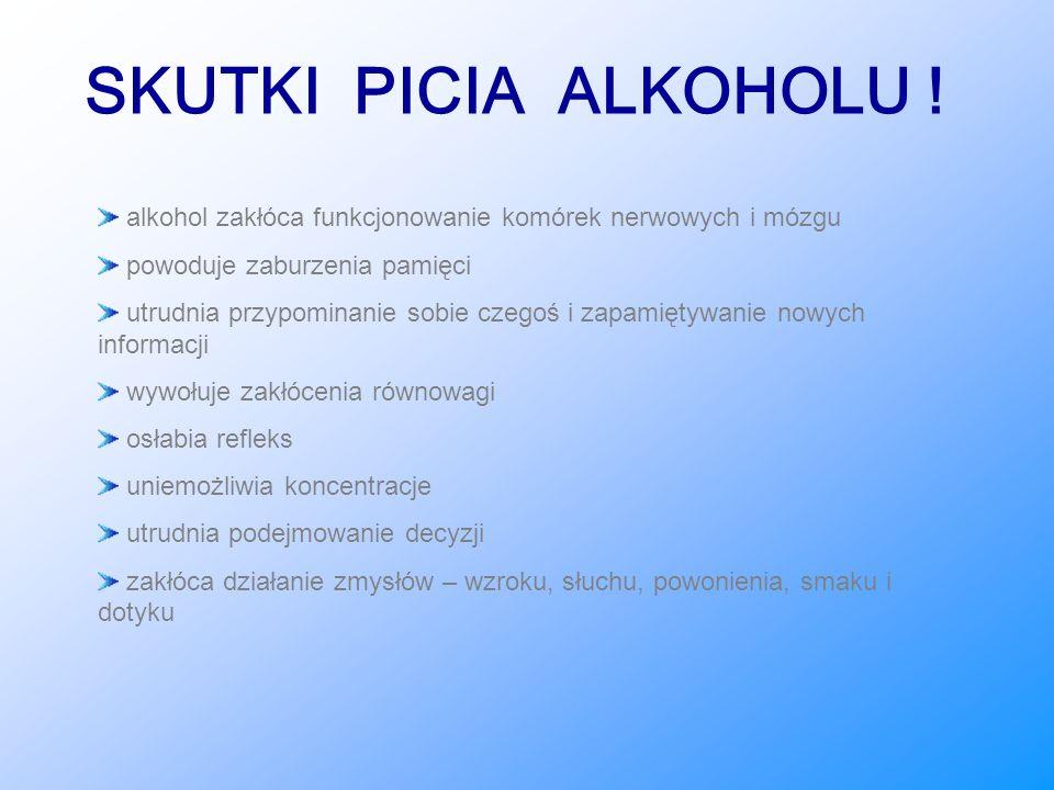 SKUTKI PICIA ALKOHOLU ! alkohol zakłóca funkcjonowanie komórek nerwowych i mózgu. powoduje zaburzenia pamięci.