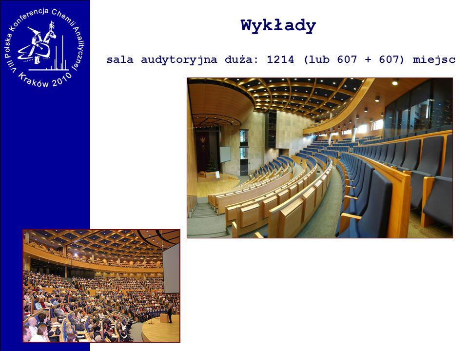 Wykłady sala audytoryjna duża: 1214 (lub 607 + 607) miejsc