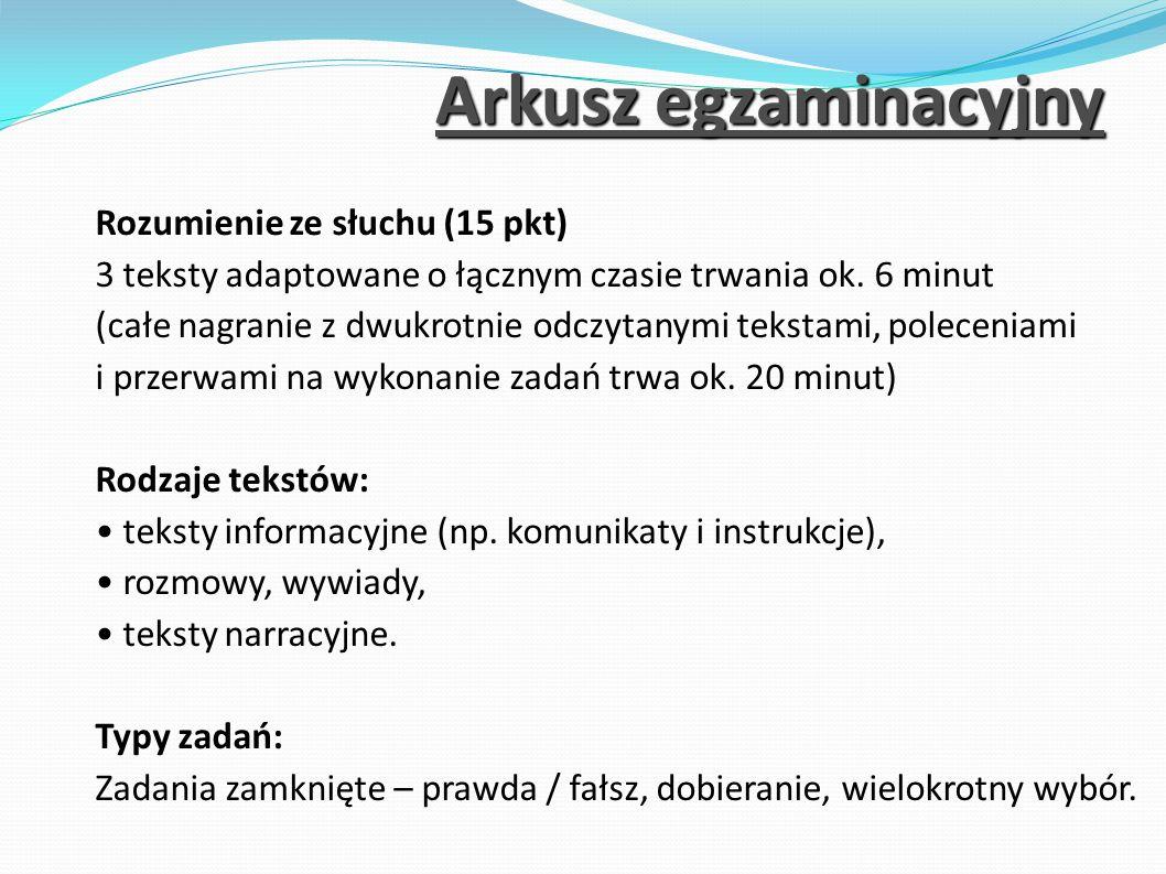 Arkusz egzaminacyjny Rozumienie ze słuchu (15 pkt)