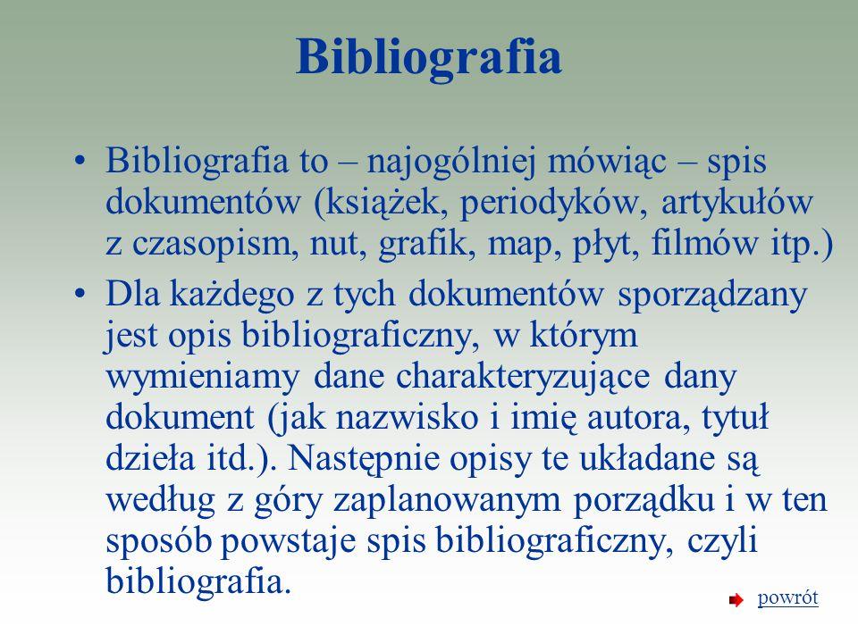 Bibliografia Bibliografia to – najogólniej mówiąc – spis dokumentów (książek, periodyków, artykułów z czasopism, nut, grafik, map, płyt, filmów itp.)