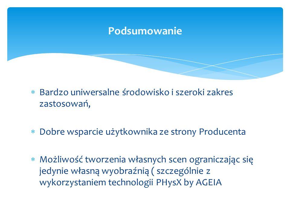 PodsumowanieBardzo uniwersalne środowisko i szeroki zakres zastosowań, Dobre wsparcie użytkownika ze strony Producenta.