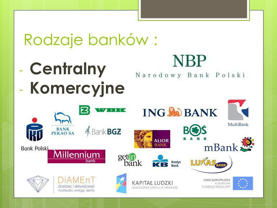 Rodzaje banków : Centralny Komercyjne