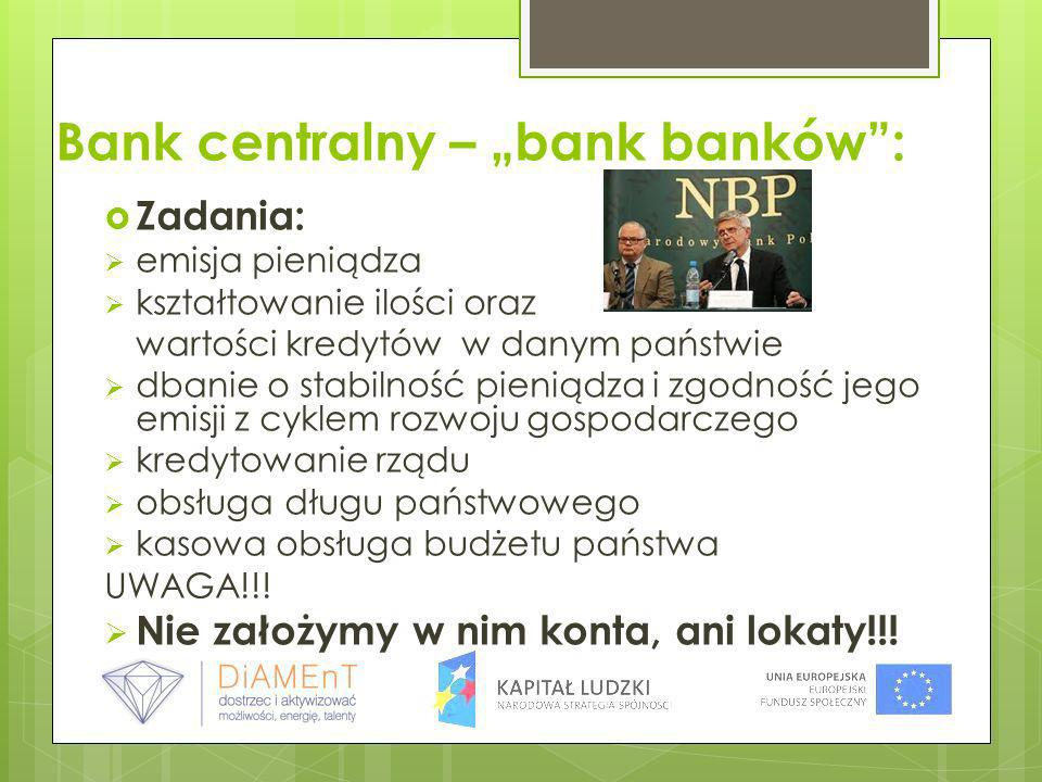 "Bank centralny – ""bank banków :"