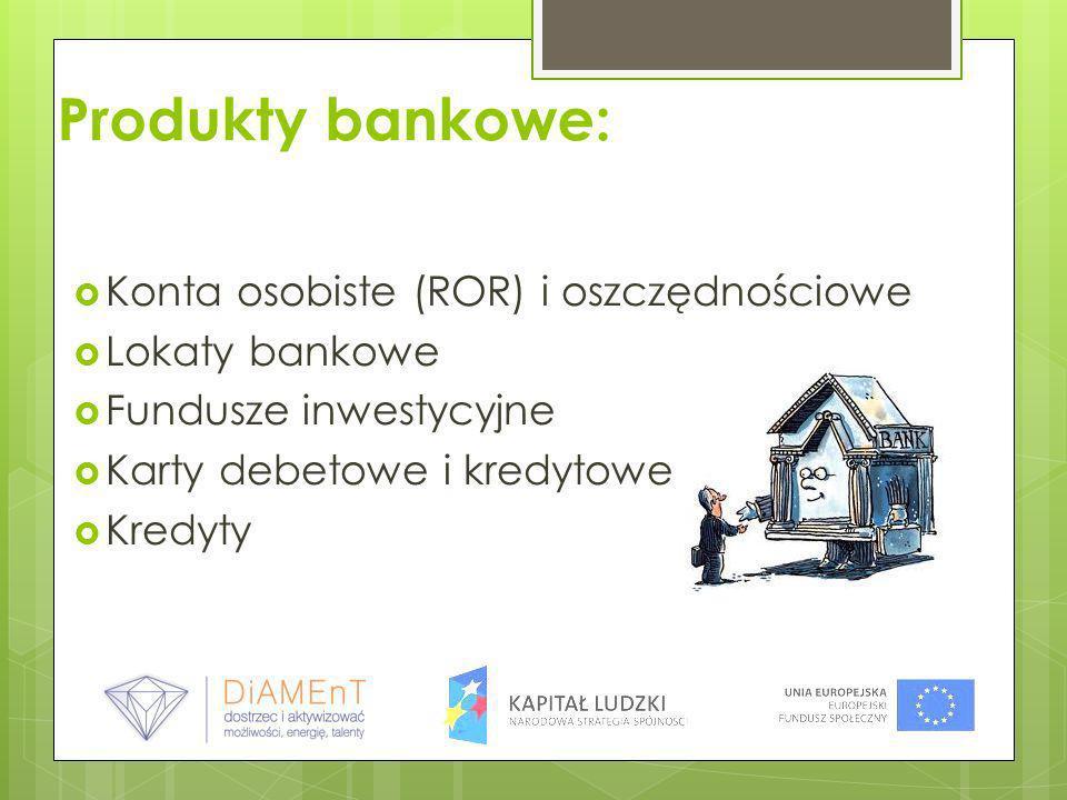 Produkty bankowe: Konta osobiste (ROR) i oszczędnościowe