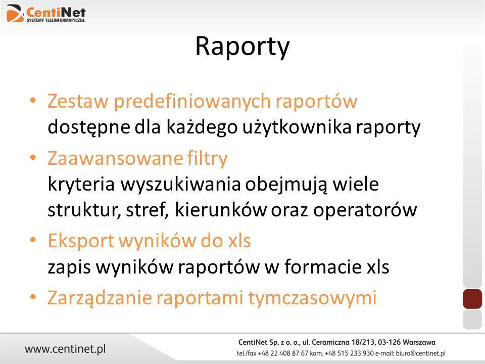 Raporty Zestaw predefiniowanych raportów dostępne dla każdego użytkownika raporty.