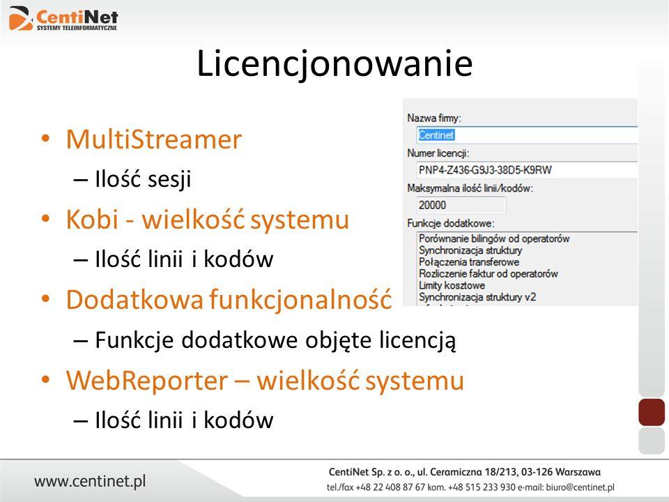 Licencjonowanie MultiStreamer Kobi - wielkość systemu