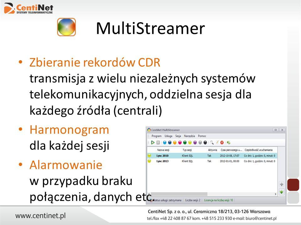 MultiStreamer Zbieranie rekordów CDR transmisja z wielu niezależnych systemów telekomunikacyjnych, oddzielna sesja dla każdego źródła (centrali)