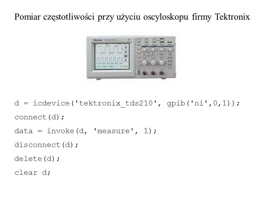 Pomiar częstotliwości przy użyciu oscyloskopu firmy Tektronix