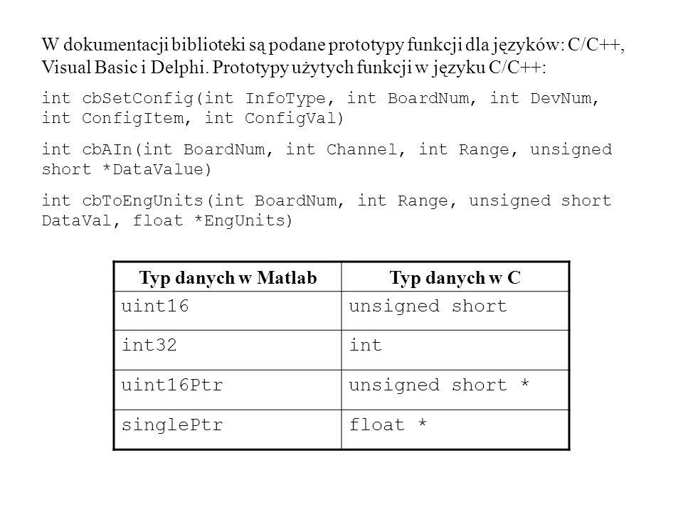 Typ danych w Matlab Typ danych w C