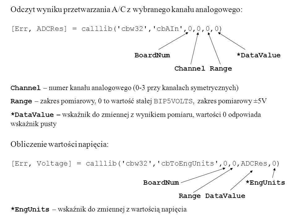 Odczyt wyniku przetwarzania A/C z wybranego kanału analogowego: