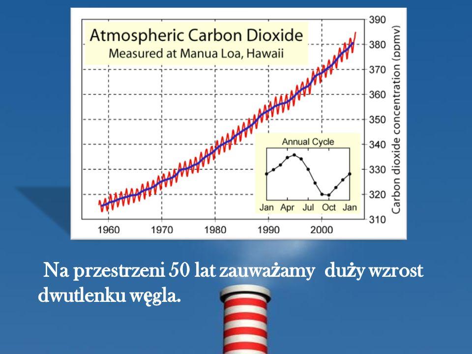 Na przestrzeni 50 lat zauważamy duży wzrost dwutlenku węgla.