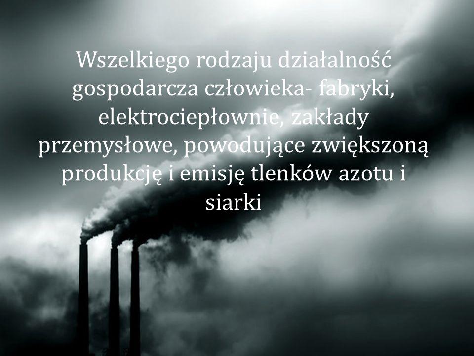 Wszelkiego rodzaju działalność gospodarcza człowieka- fabryki, elektrociepłownie, zakłady przemysłowe, powodujące zwiększoną produkcję i emisję tlenków azotu i siarki