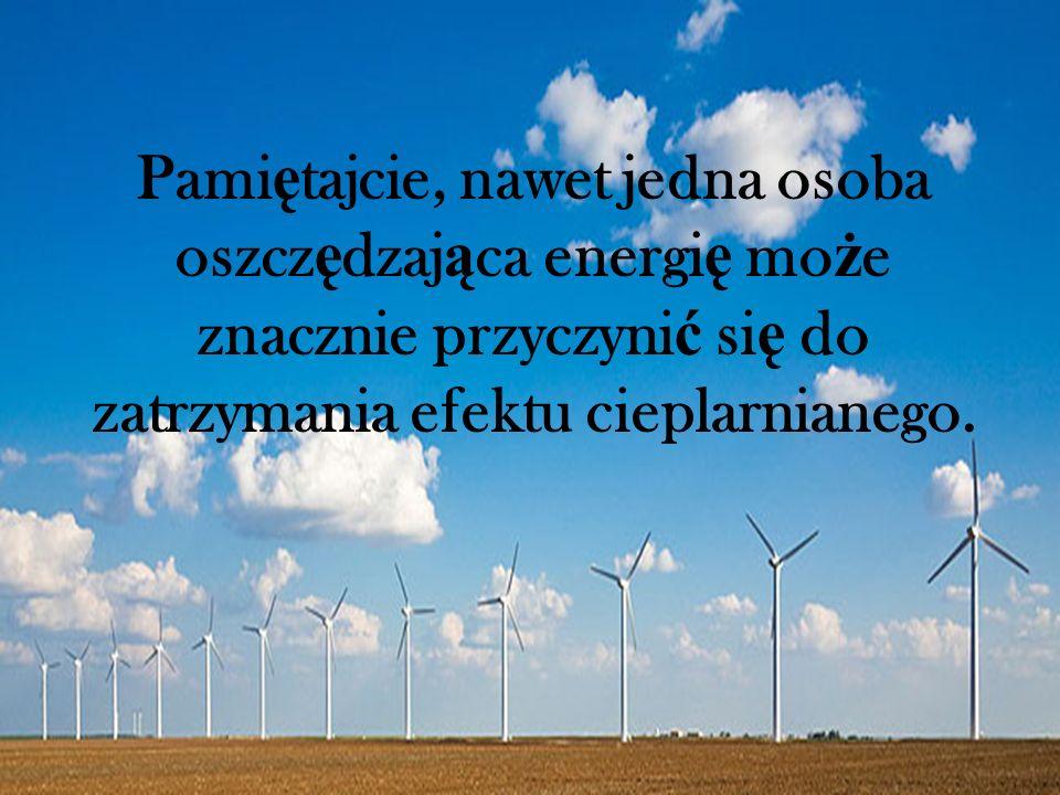 Pamiętajcie, nawet jedna osoba oszczędzająca energię może znacznie przyczynić się do zatrzymania efektu cieplarnianego.