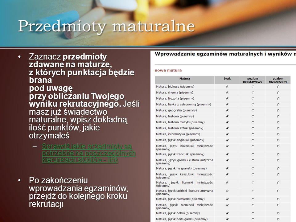 Przedmioty maturalne