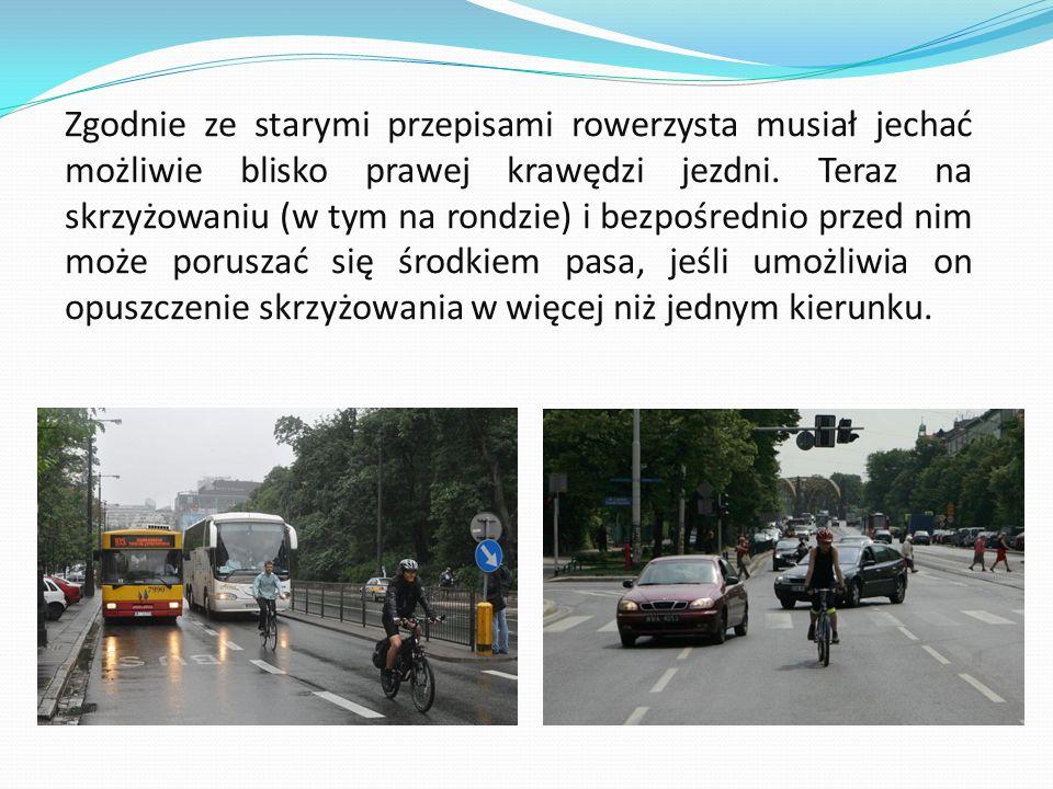 Zgodnie ze starymi przepisami rowerzysta musiał jechać możliwie blisko prawej krawędzi jezdni.