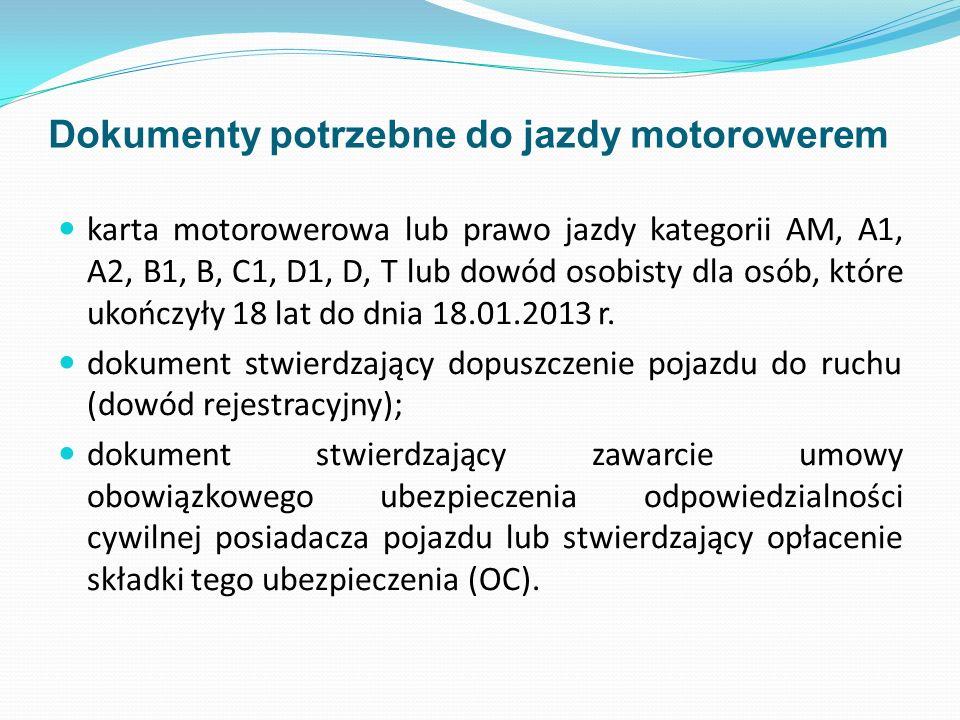 Dokumenty potrzebne do jazdy motorowerem