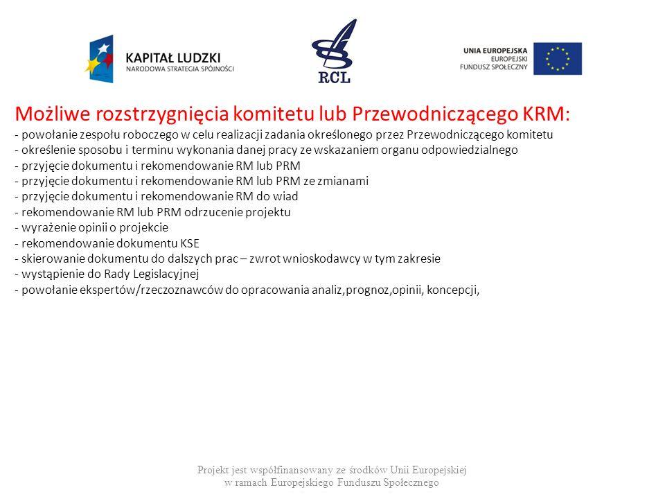 Możliwe rozstrzygnięcia komitetu lub Przewodniczącego KRM: - powołanie zespołu roboczego w celu realizacji zadania określonego przez Przewodniczącego komitetu - określenie sposobu i terminu wykonania danej pracy ze wskazaniem organu odpowiedzialnego - przyjęcie dokumentu i rekomendowanie RM lub PRM - przyjęcie dokumentu i rekomendowanie RM lub PRM ze zmianami - przyjęcie dokumentu i rekomendowanie RM do wiad - rekomendowanie RM lub PRM odrzucenie projektu - wyrażenie opinii o projekcie - rekomendowanie dokumentu KSE - skierowanie dokumentu do dalszych prac – zwrot wnioskodawcy w tym zakresie - wystąpienie do Rady Legislacyjnej - powołanie ekspertów/rzeczoznawców do opracowania analiz,prognoz,opinii, koncepcji,