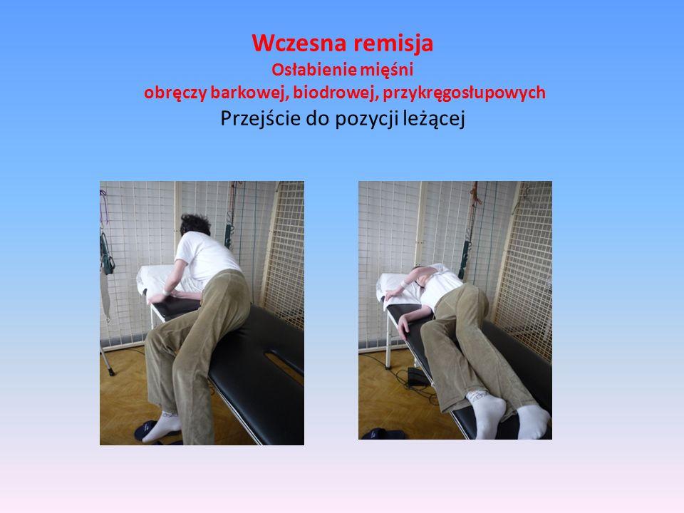 Wczesna remisja Osłabienie mięśni obręczy barkowej, biodrowej, przykręgosłupowych Przejście do pozycji leżącej