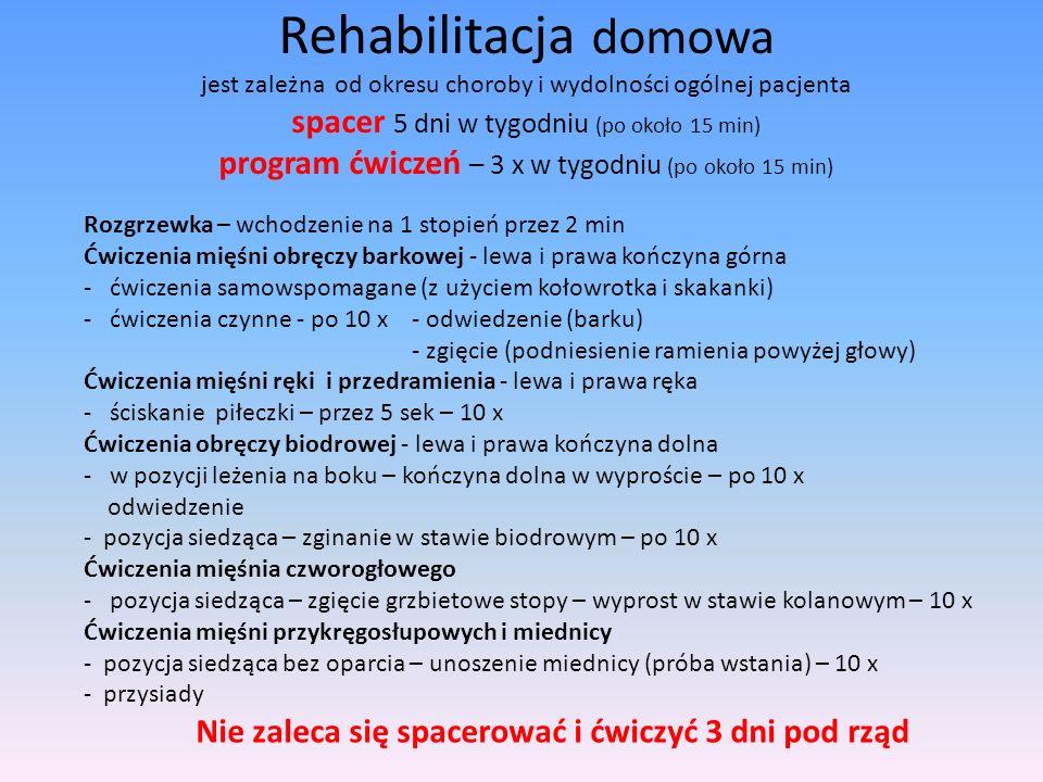 Rehabilitacja domowa jest zależna od okresu choroby i wydolności ogólnej pacjenta spacer 5 dni w tygodniu (po około 15 min) program ćwiczeń – 3 x w tygodniu (po około 15 min)