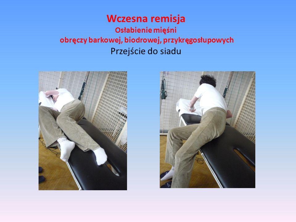 Wczesna remisja Osłabienie mięśni obręczy barkowej, biodrowej, przykręgosłupowych Przejście do siadu