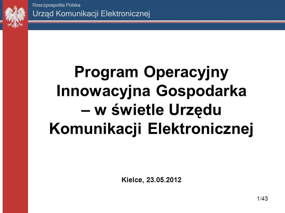 Program Operacyjny Innowacyjna Gospodarka – w świetle Urzędu Komunikacji Elektronicznej Kielce, 23.05.2012