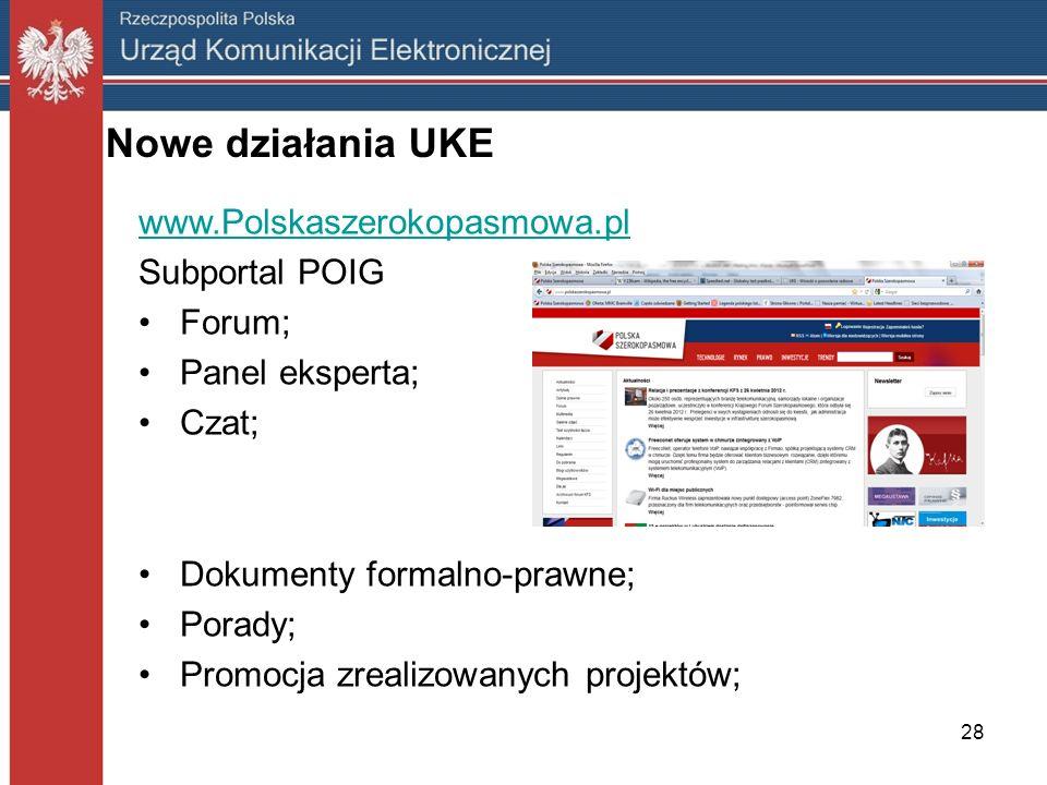 Nowe działania UKE www.Polskaszerokopasmowa.pl Subportal POIG Forum;