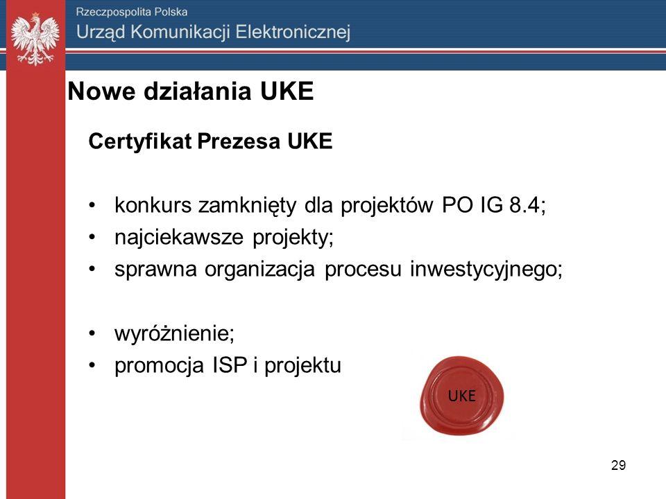 Nowe działania UKE Certyfikat Prezesa UKE