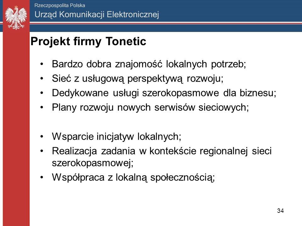 Projekt firmy Tonetic Bardzo dobra znajomość lokalnych potrzeb;
