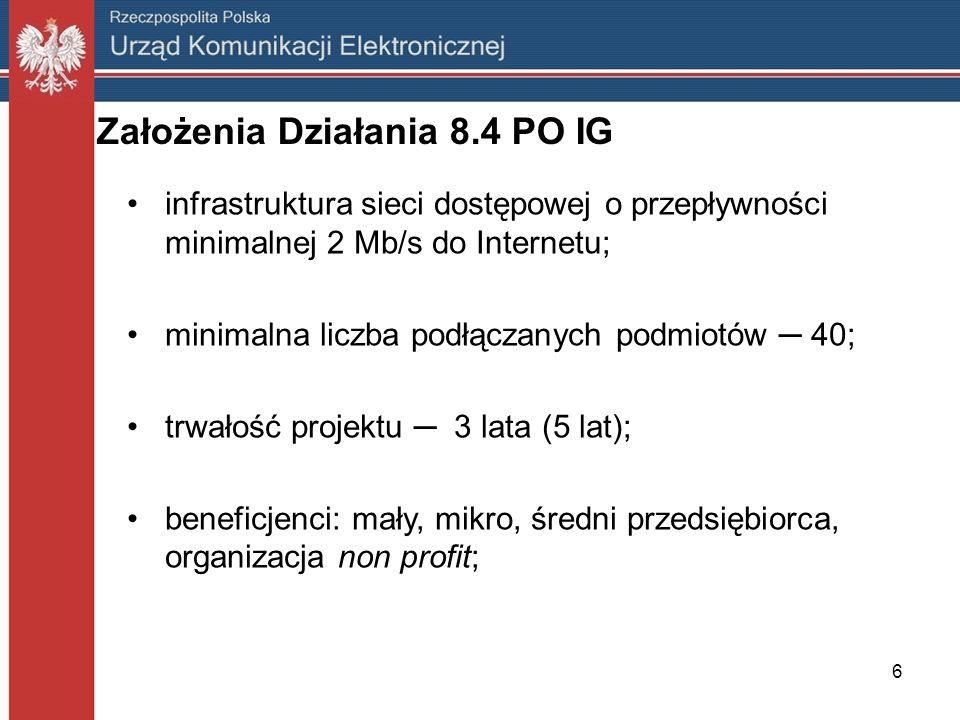Założenia Działania 8.4 PO IG