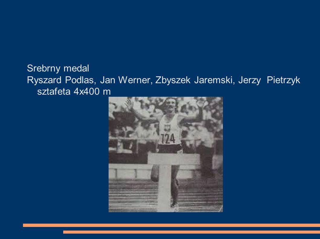Srebrny medal Ryszard Podlas, Jan Werner, Zbyszek Jaremski, Jerzy Pietrzyk sztafeta 4x400 m