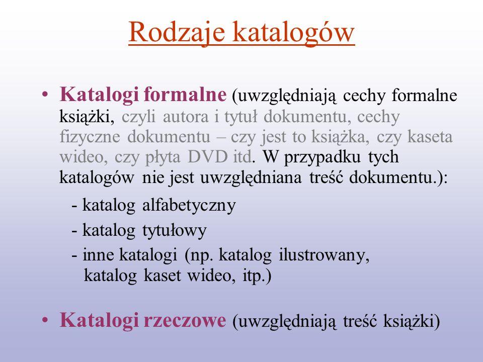 Rodzaje katalogów